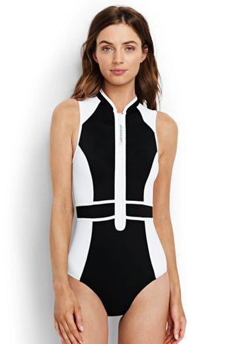 2eea08b572e3b Women's+Zip-front+One+Piece+Swimsuit+from+Lands'+End | clothes ...