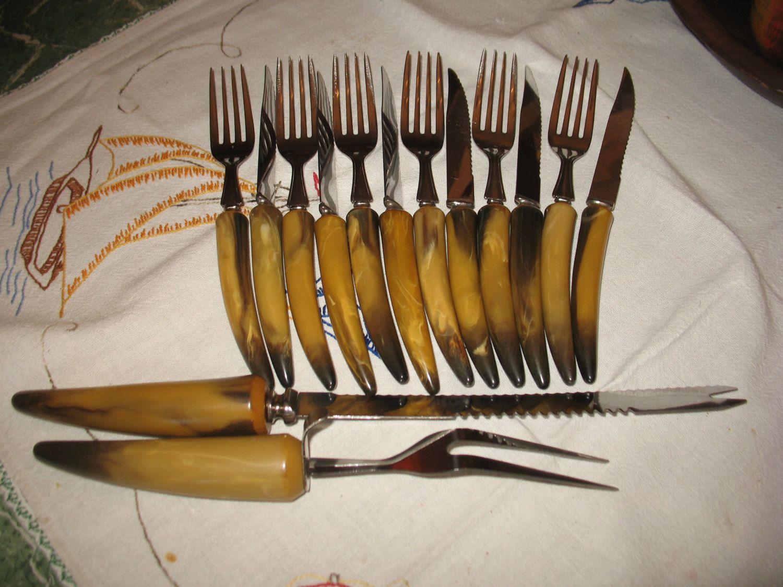 Vintage set ustensile de cuisine couteau fourchette manche - Ustensile de cuisine vintage ...