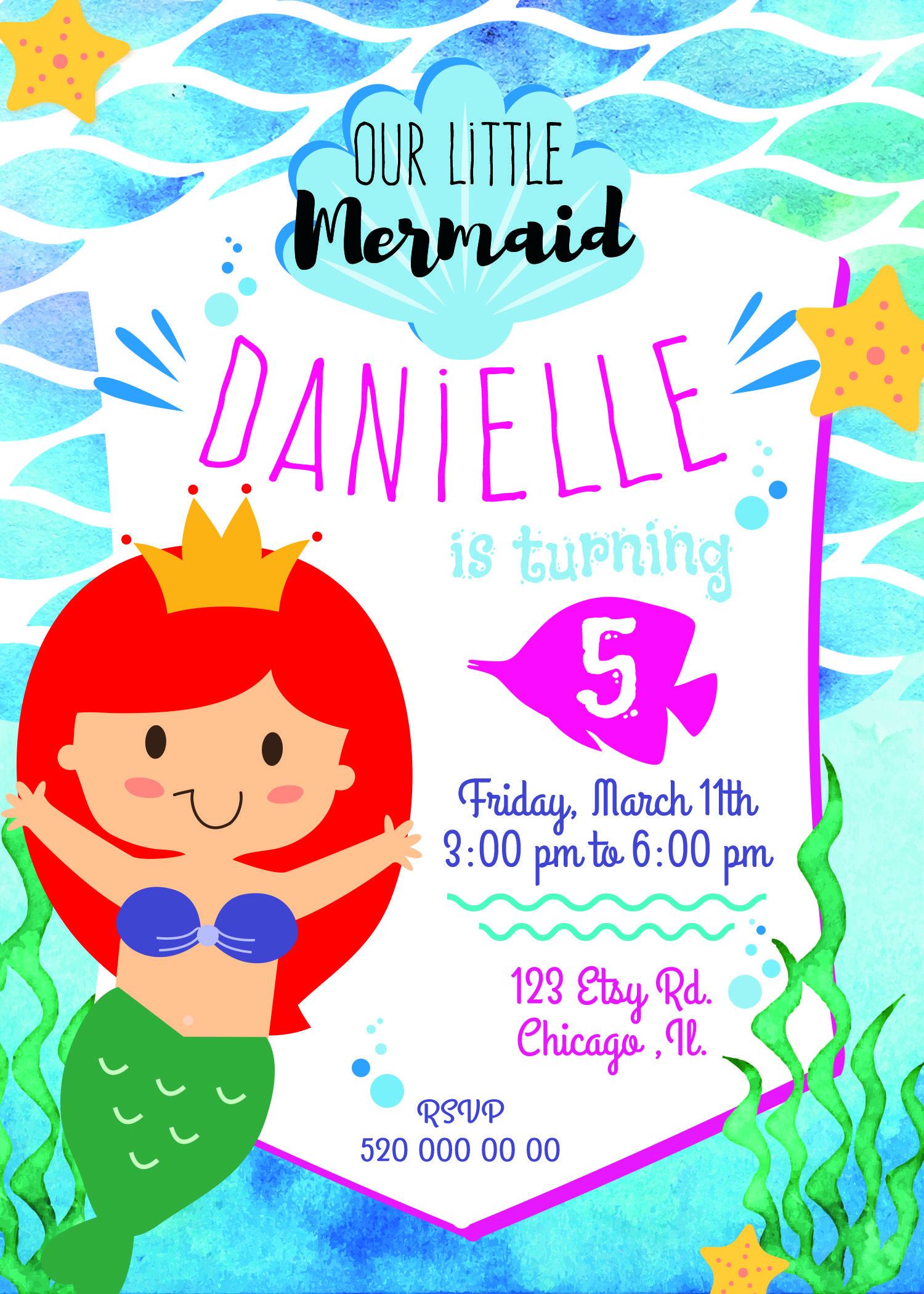 MERMAID birthday invitation, little mermaid invitation, mermaid ...