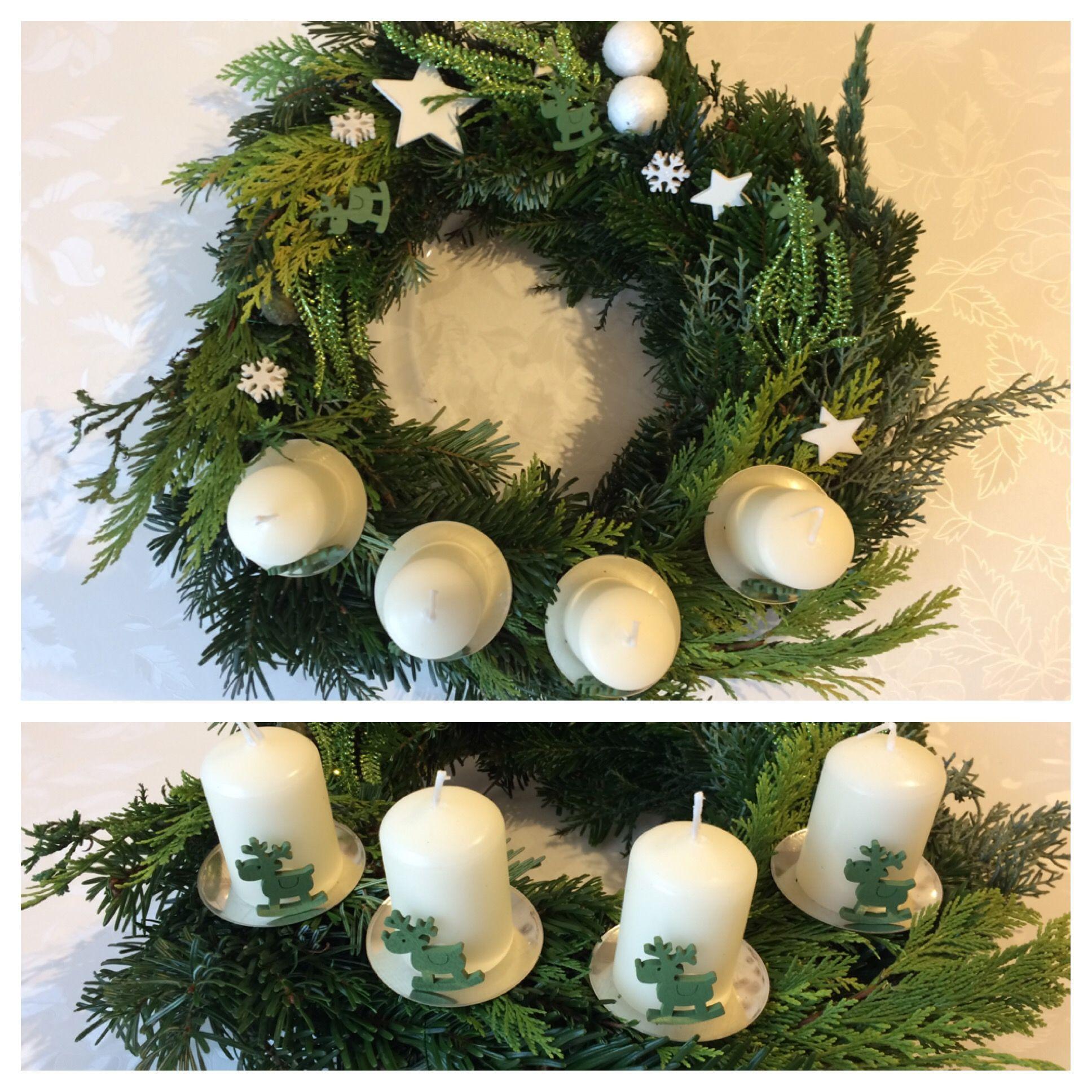 Idee für Adventskranz  grün und weiß