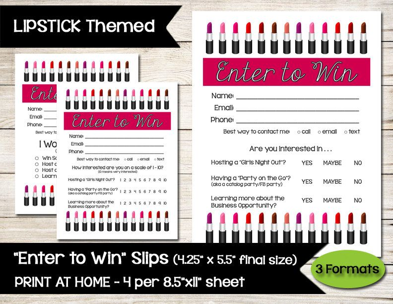 LIPSTICK Enter to Win Door Prize Drawing Slip Raffle - raffle ticket
