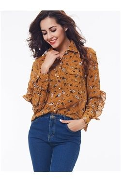 Sweet Heart:Floral Waveselvedge Long Sleeve Shirt