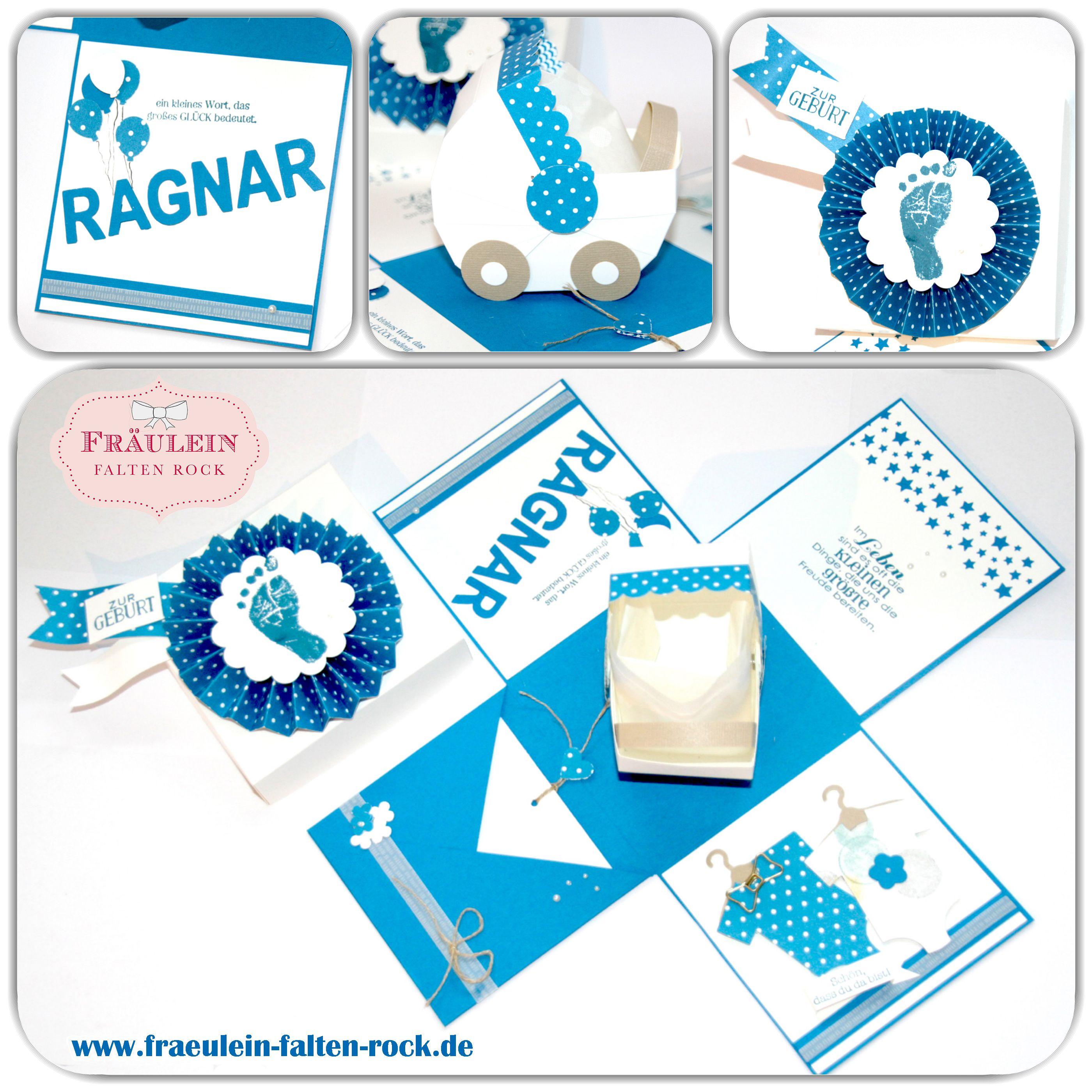 Heute zeige ich euch eine Explosionsbox für einen Jungen zur Geburt. Die Box sollte in den typischen Jungenfarben sein. Somit habe ich Pazifikblau mit Flüsterweiß kombiniert. Die Box ist mit viel liebe gewerkelt und ich hoffe Sie gefällt euch genauso gut wie mir.  #stampinup, #geburt #baby #box #explosionsbox #fürsbaby #geschenk #kinderwagen #babybody #zurgeburt #babygeschenk #geldgeschenk #geld #kind
