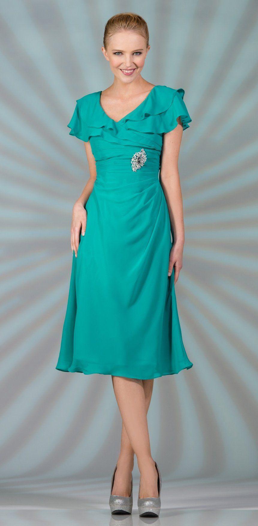 Modest Jade Tea Length Chiffon Dress Short Sleeves Semi Formal ...