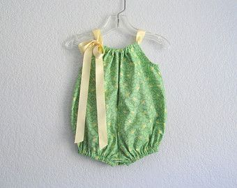 Baby Girl Bubble Romper - Spring Green Sunsuit with Butter Yellow Tulips - Size 3 Months, 6 Months, 9 Months, 12 Months or 18 Months