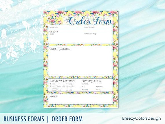 Floral Order Form Printable for Craft, Small Business, Custom - paper order form