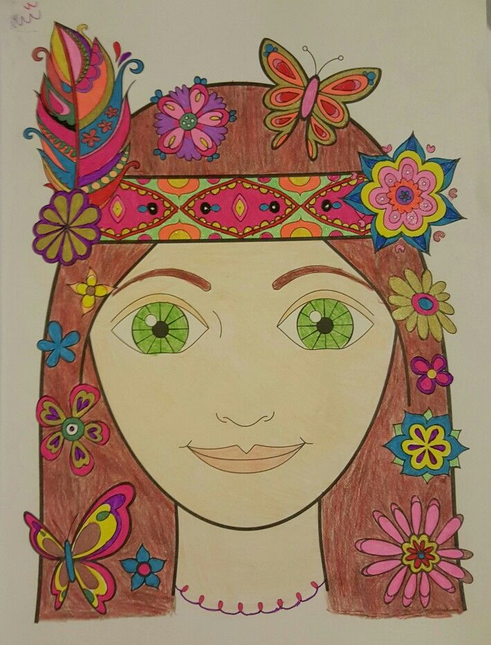 Hippie Girl from Thaneeya McArdle\'s Free Spirit | Finished Coloring ...