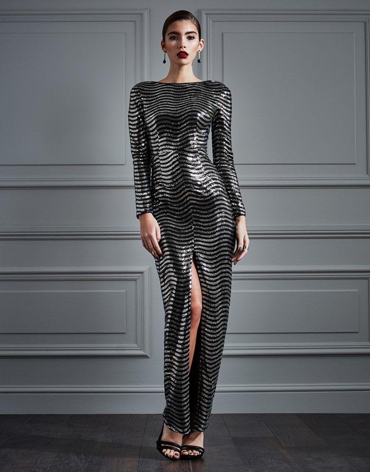 Black long sleeve maxi dress plunge