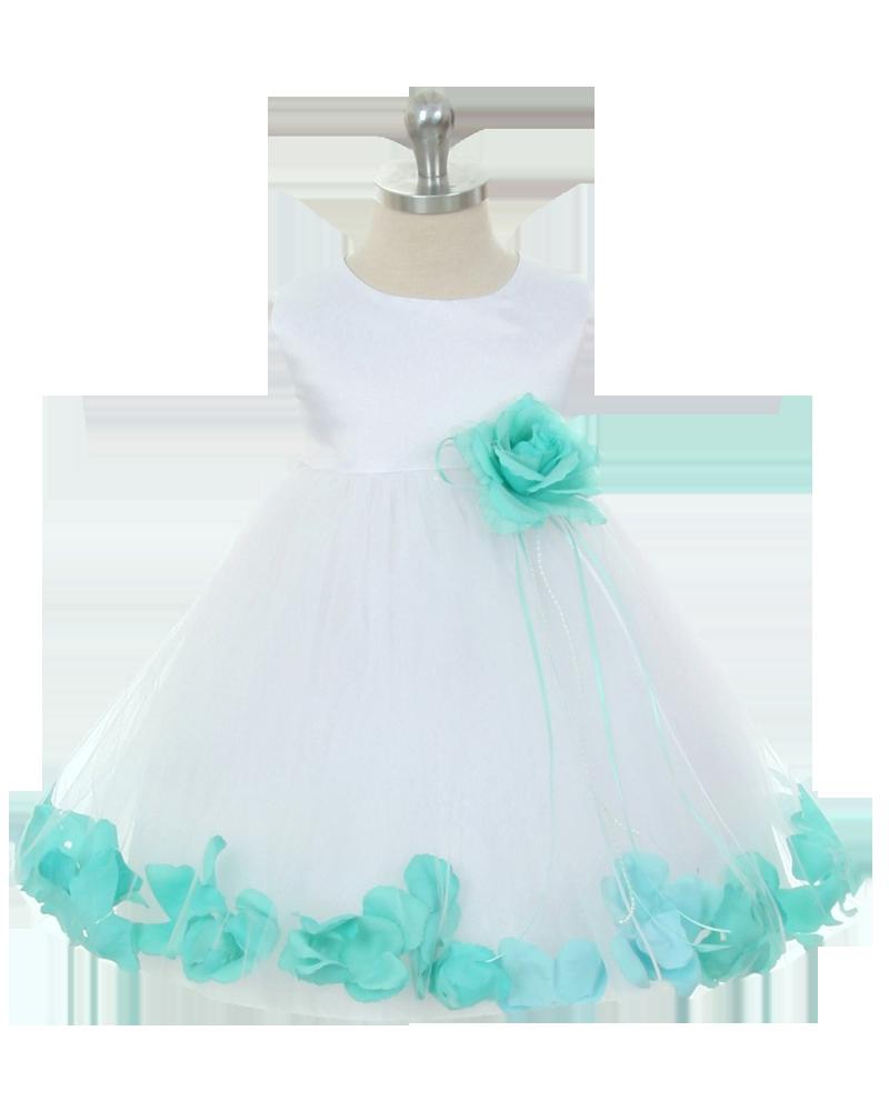 688451cc492 Mint Green Flower Petals Satin  amp  Tulle Floating Flower Petal Dress Baby  Girl (KD195B