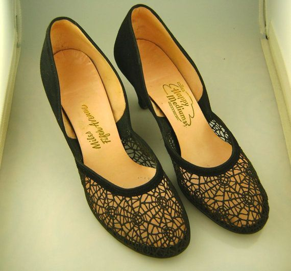 646cac0a96a99 Vintage 1940s suede and crochet spider web heels | O What A Tangled ...