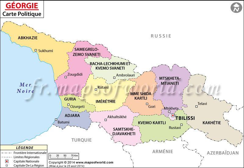 Géorgie Carte (Map of #Georgia) | Carte du Monde | Pinterest | Georgia