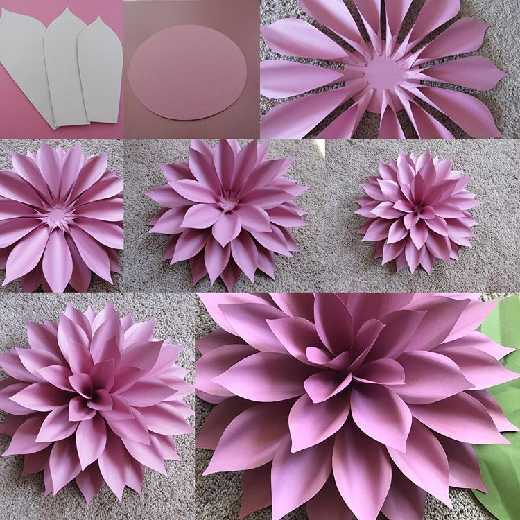 "Karina's Instagram profile post: ""Quick look at how I made my 20"" Dahlia using my template 71. 1️⃣ I used the THREE largest petals. I made 28 petals of the largest (these…"" #paperflowerswedding"