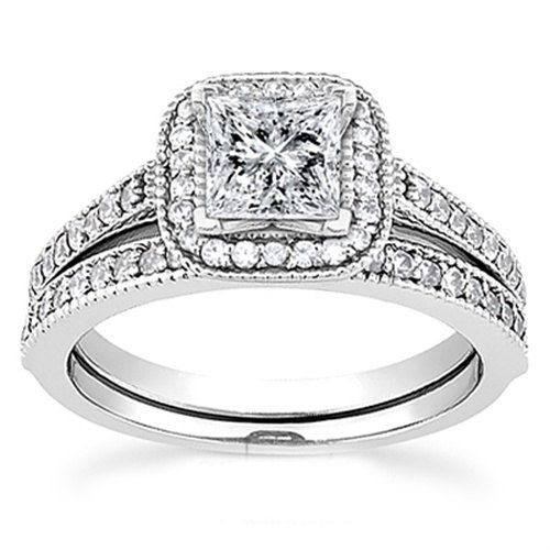 Princess Cut Diamond Engagement Ring Halo 1 15ct Vintage Wedding Band 14k White Gold