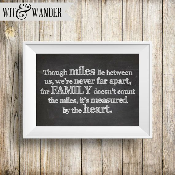 Long Distance Family Instant Download 5x7 Printable Chalkboard