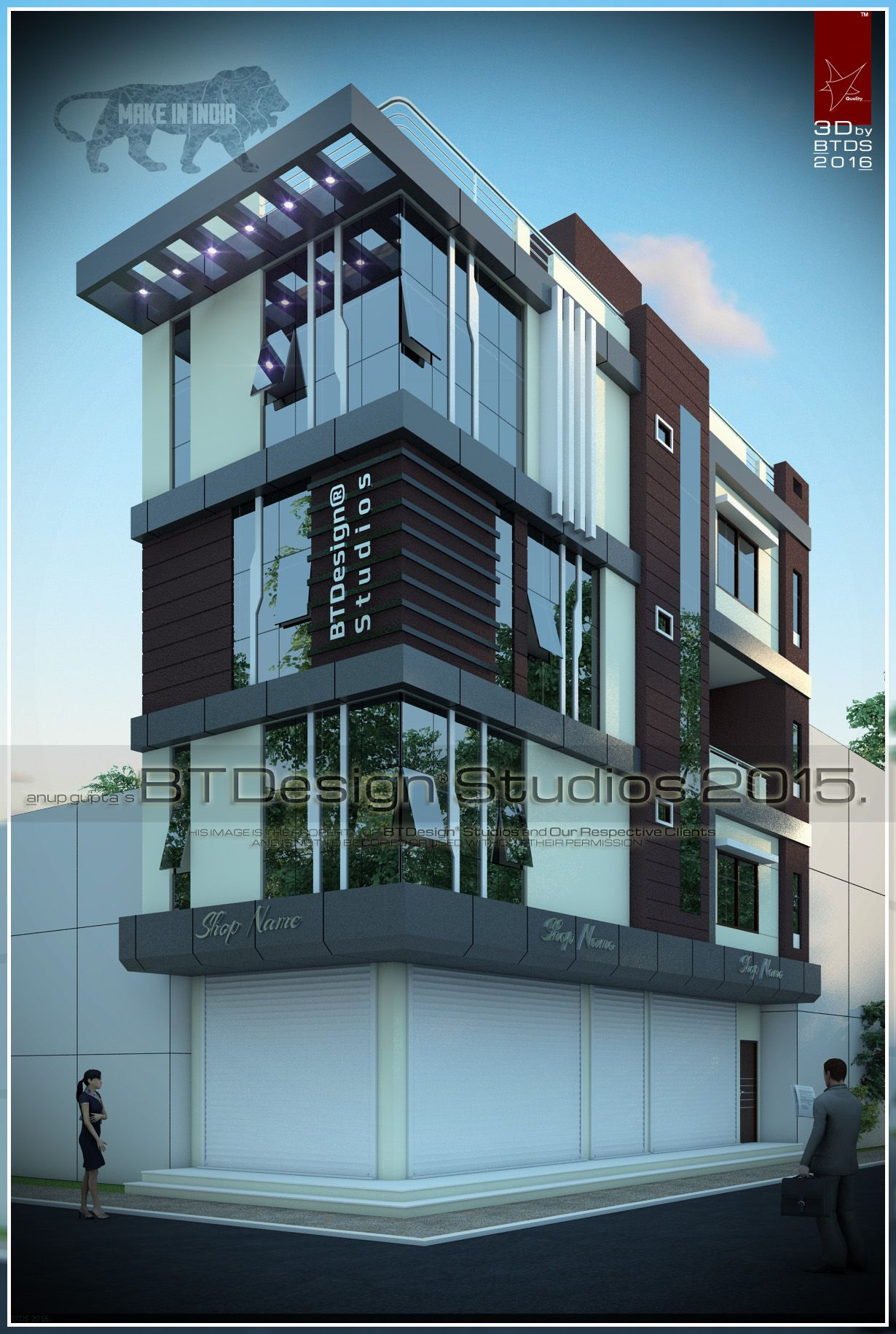 #elevation #exterior #3d #view #visualization #design #makeinindia  #btdesignstudios