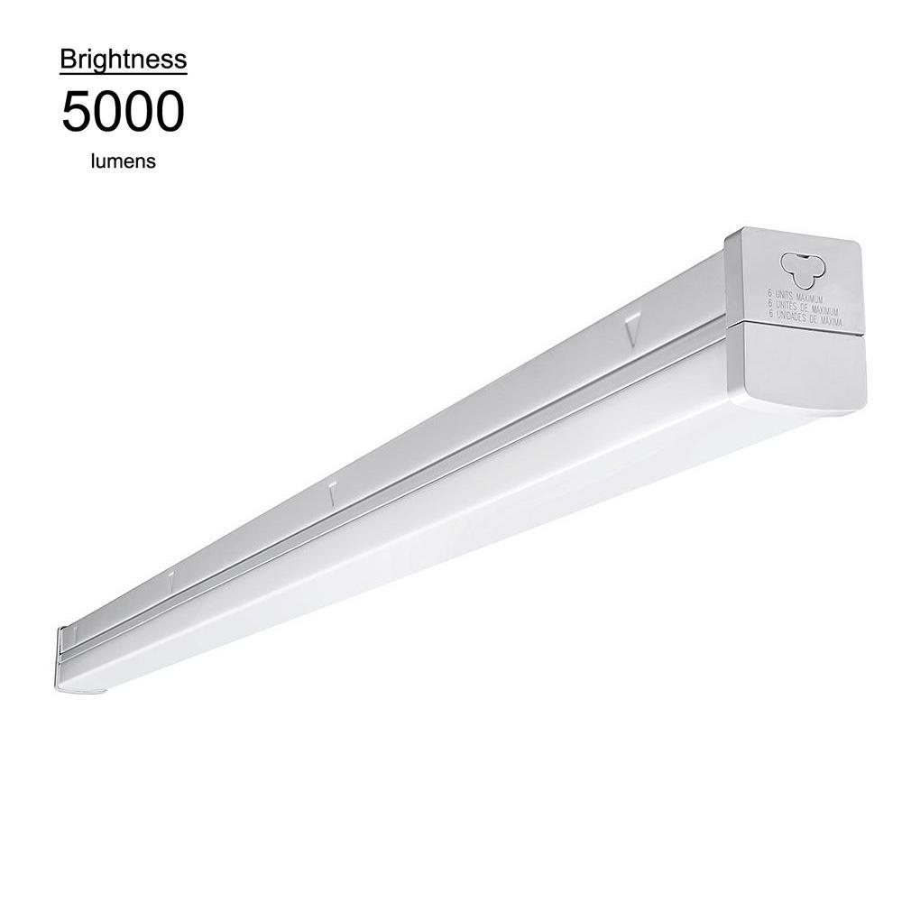 Eti 4 Ft 100 Watt Equivalent Integrated Led White Strip Light Fixture 5000k Linkable High Output 5000 Lumens Dimmable 54573161 Led Strip Lighting Ceiling Lights