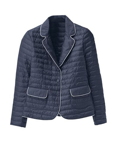 Quilted Piped Nylon Blazer is a new take on a classic jacket. With snap front, two pockets, snap side vents. Light fill. Imported.