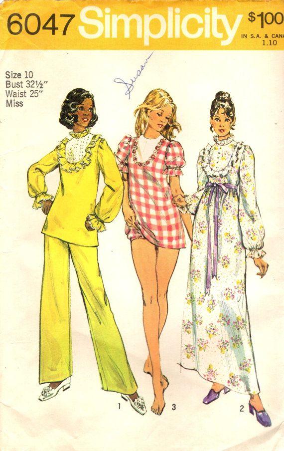 Simplicity 6047 Nightgown, Pajamas, Baby Doll PJs ©1973 | Nacht ...