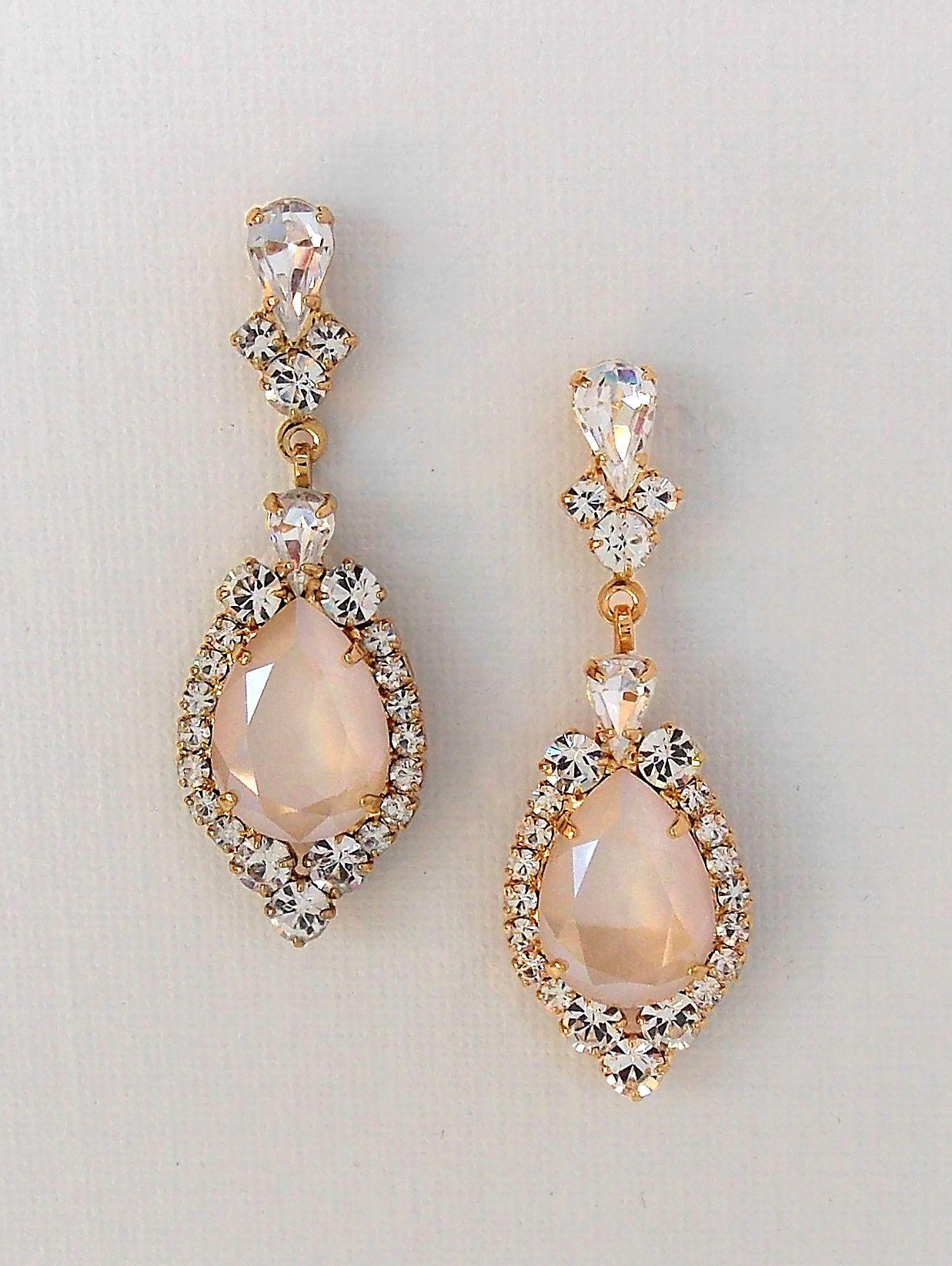 Bridal Crystal Earrings Gold Teardrop Chandelier Weddingjewelry
