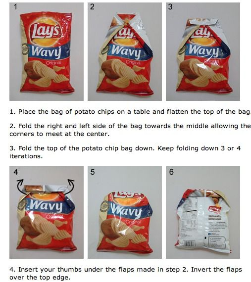 Fold Your Unfinished Bag Of Crisps Chips Uk Us To Keep Them Fresh Without The Need For A Clip Ever Again Chip Bag Folding Chip Bag Chips