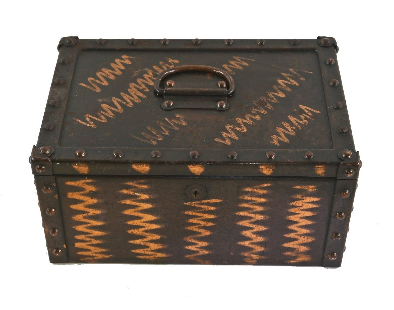 """unique c. early 20th century american industrial reinforced """"fireproof"""" solid steel strong box with original oxidized copper-plated finish"""