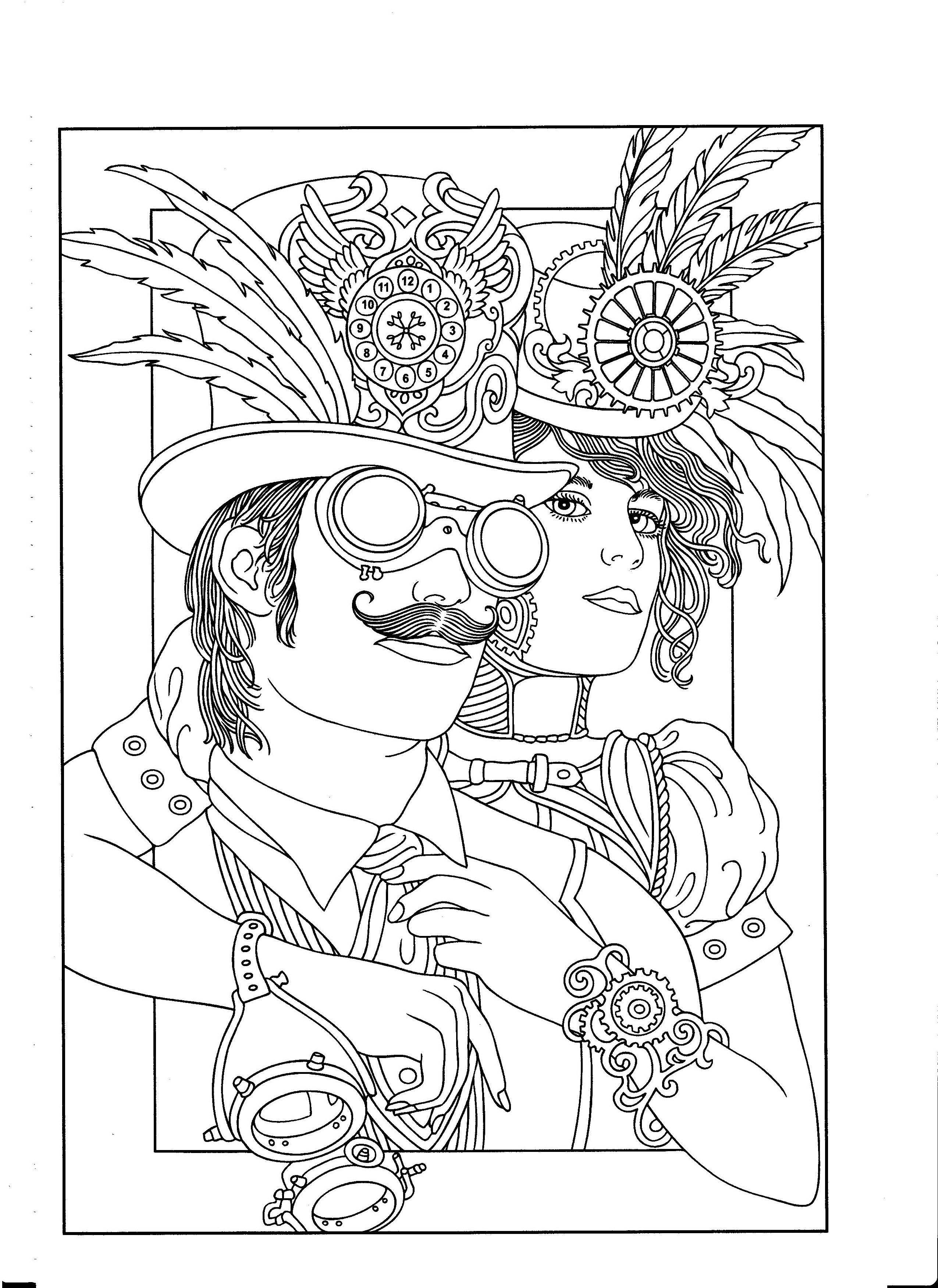 Steampunk Adult Coloring. Artwork by Marty Noble. Creative