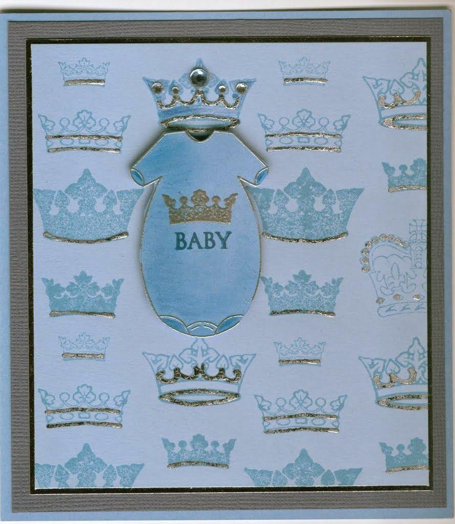 baby suit 4348D, crowns 4312E: Stamp-it Australia. Card by Susan of Art Attic Studio