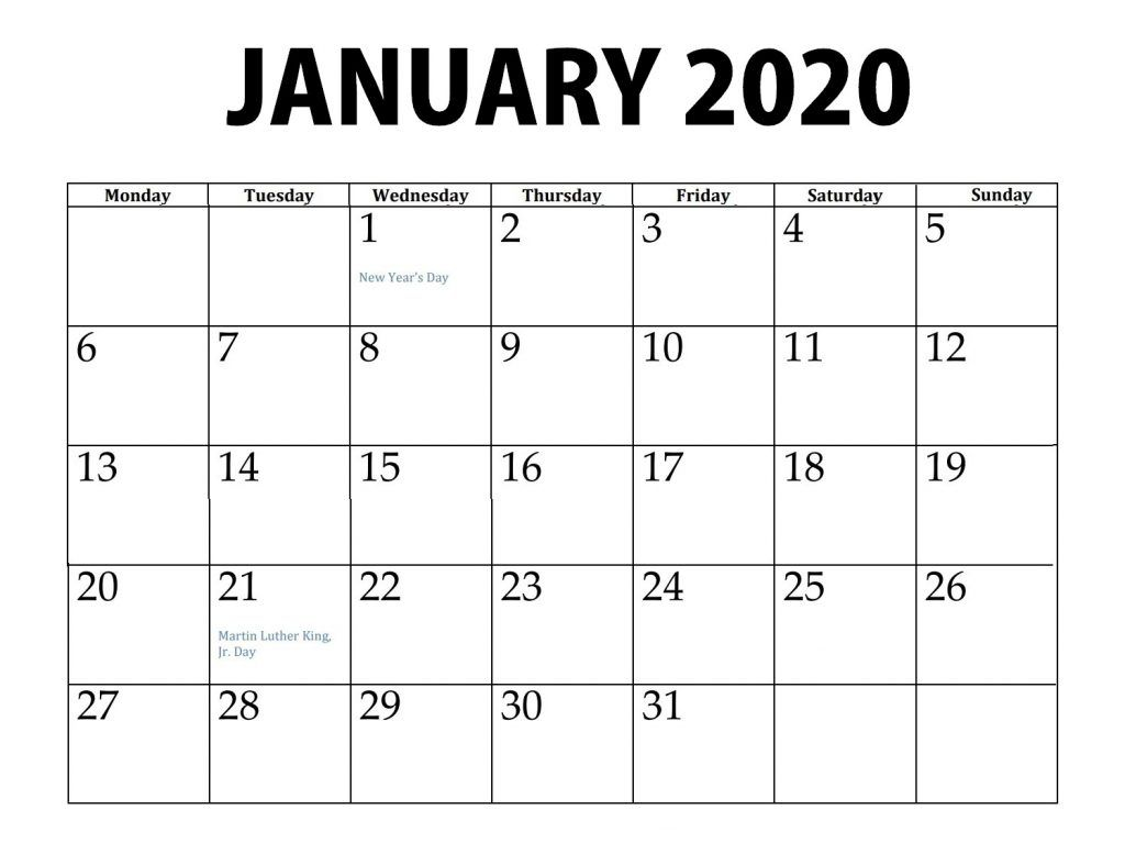 January 2020 Calendar Printable Template | Calendar ...