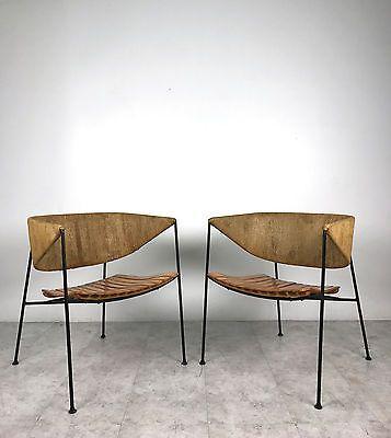 Rare Pair Vintage Arthur Umanoff Iron Rush Slat Lounge Chairs Mid