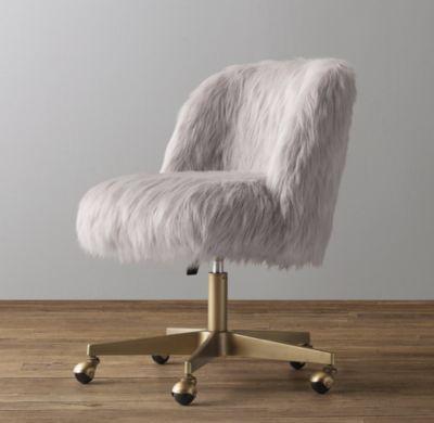 Rh Baby Child S Alessa Kashmir Faux Fur Desk Chair Antiqued Brass All Work Pink Desk Chair Bedroom Desk Chair Desk Chair