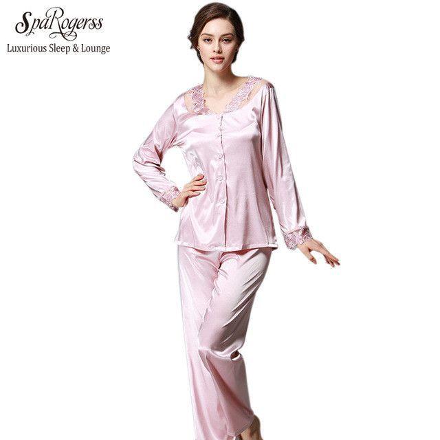 Luxurious Women Pajama Set Faux Silk Lace Ladies Pajamas Female Pijamas 2  Pcs Silky Sleep Lounge Woman New dc1b09b19