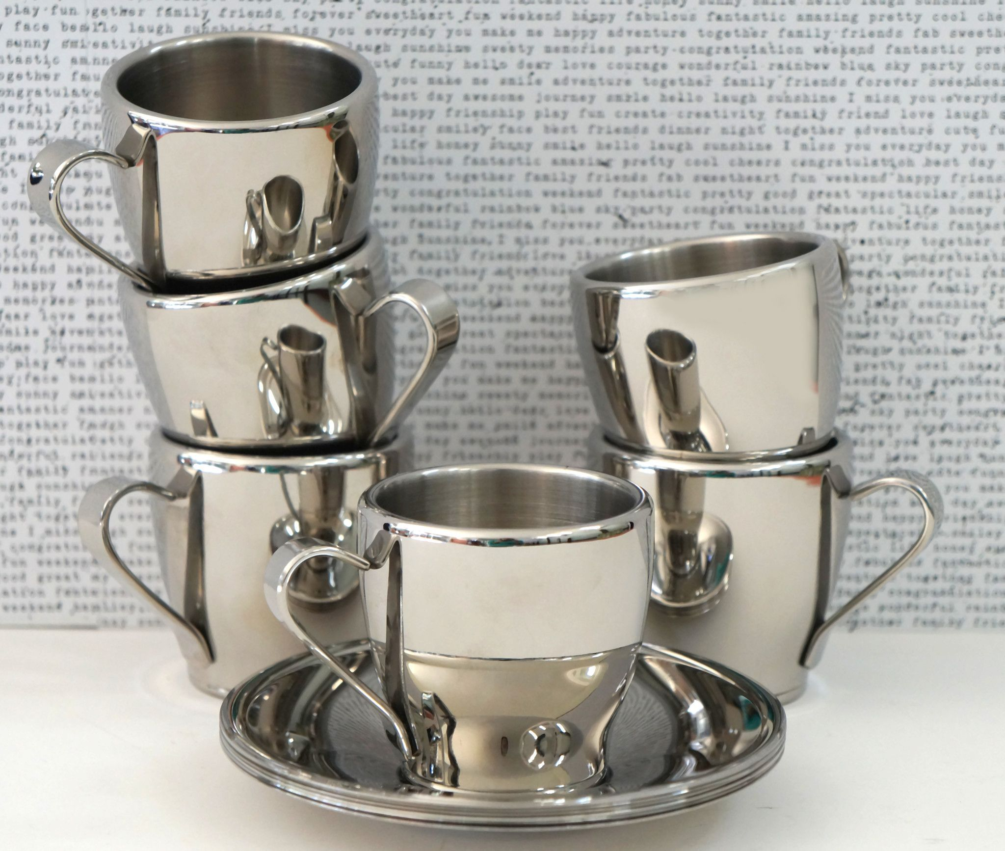 Crate barrel stainless steel espresso cup saucer set