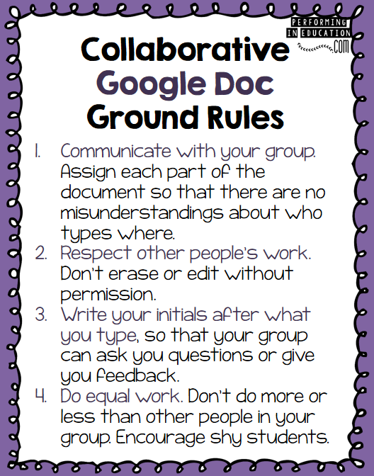 Collaborative Classroom Rules ~ Collaborative reading lesson with google docs technology