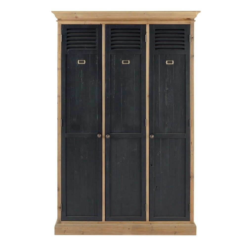 Dressing indus 10 portes en pin recyclé noir Toulouse  Stile