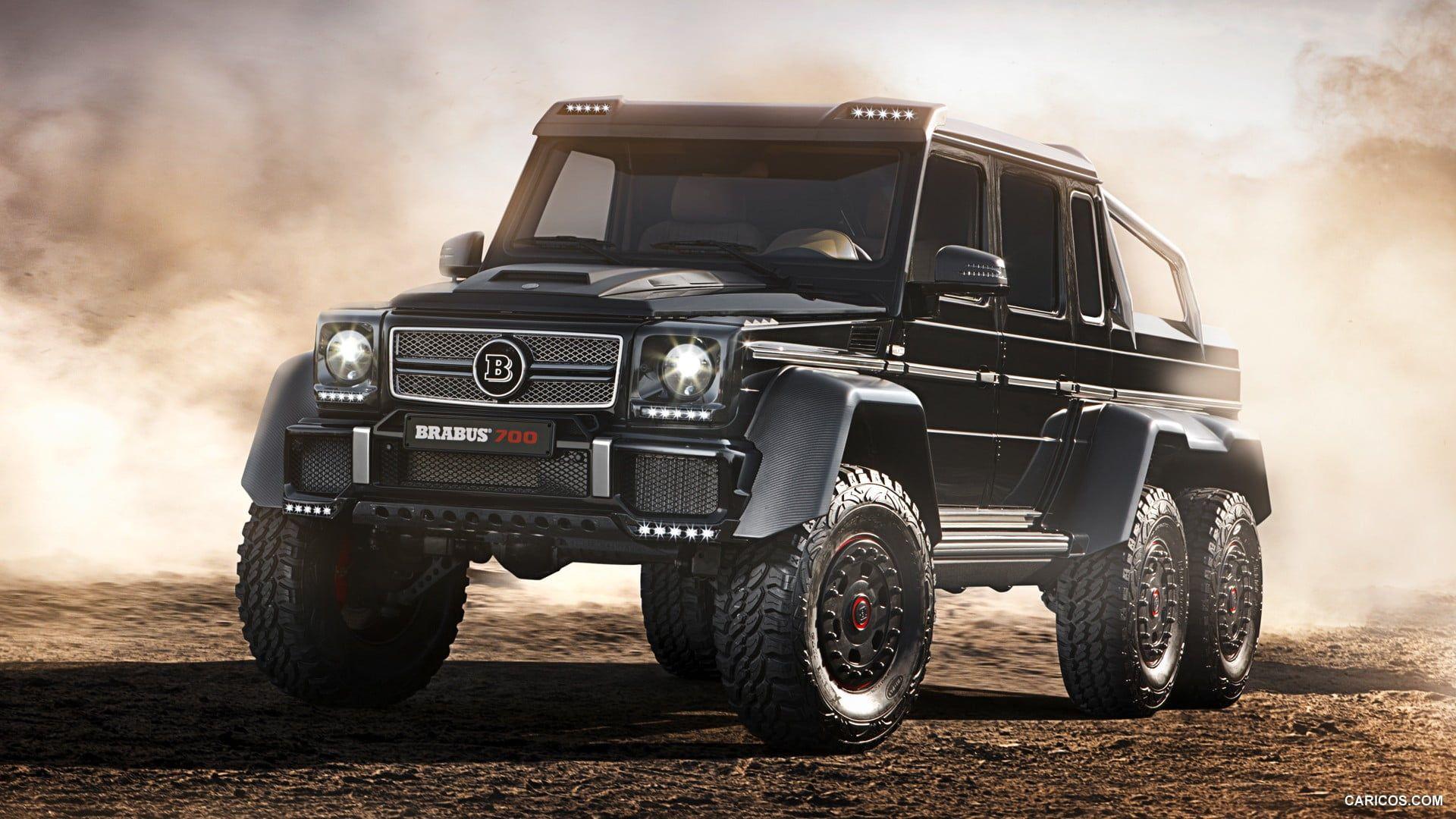 Black Pickup Truck Gelenvagen Mercedes Benz G Class 6x6 Desert Car Brabus 1080p Wallpaper Hdw Luxury Cars Mercedes Benz Convertible Mercedes Benz Sedan