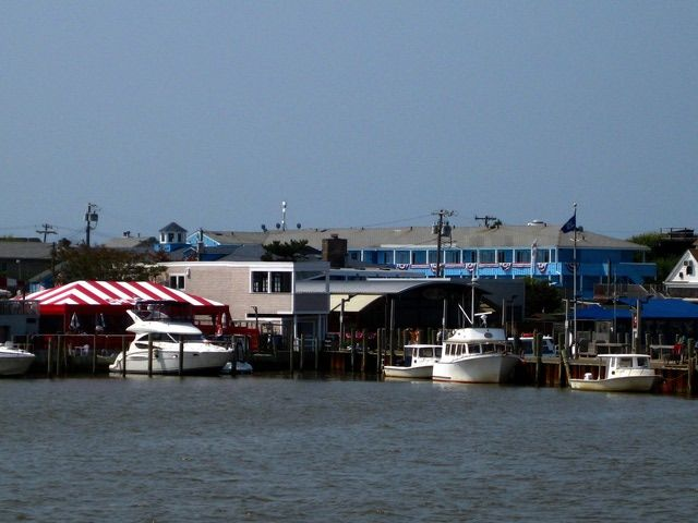 Fire Island Gay Guide and Photo Gallery: Cherry Grove, viewed from Sayville ferry boat