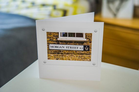 This beautifully photographed street sign has been turned into a unique and unforgettable greetings card. Morgan Street in East London makes a