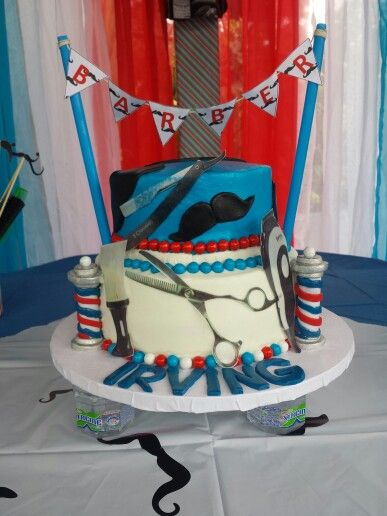 IRVING Barber shop cake By Glorimar | Fiesta, Barberos