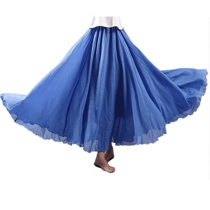 Jupe Plissée Femme Bohème Longue en Lin et Coton avec Jupon Tour de Taille Elastique Couleur Diverse