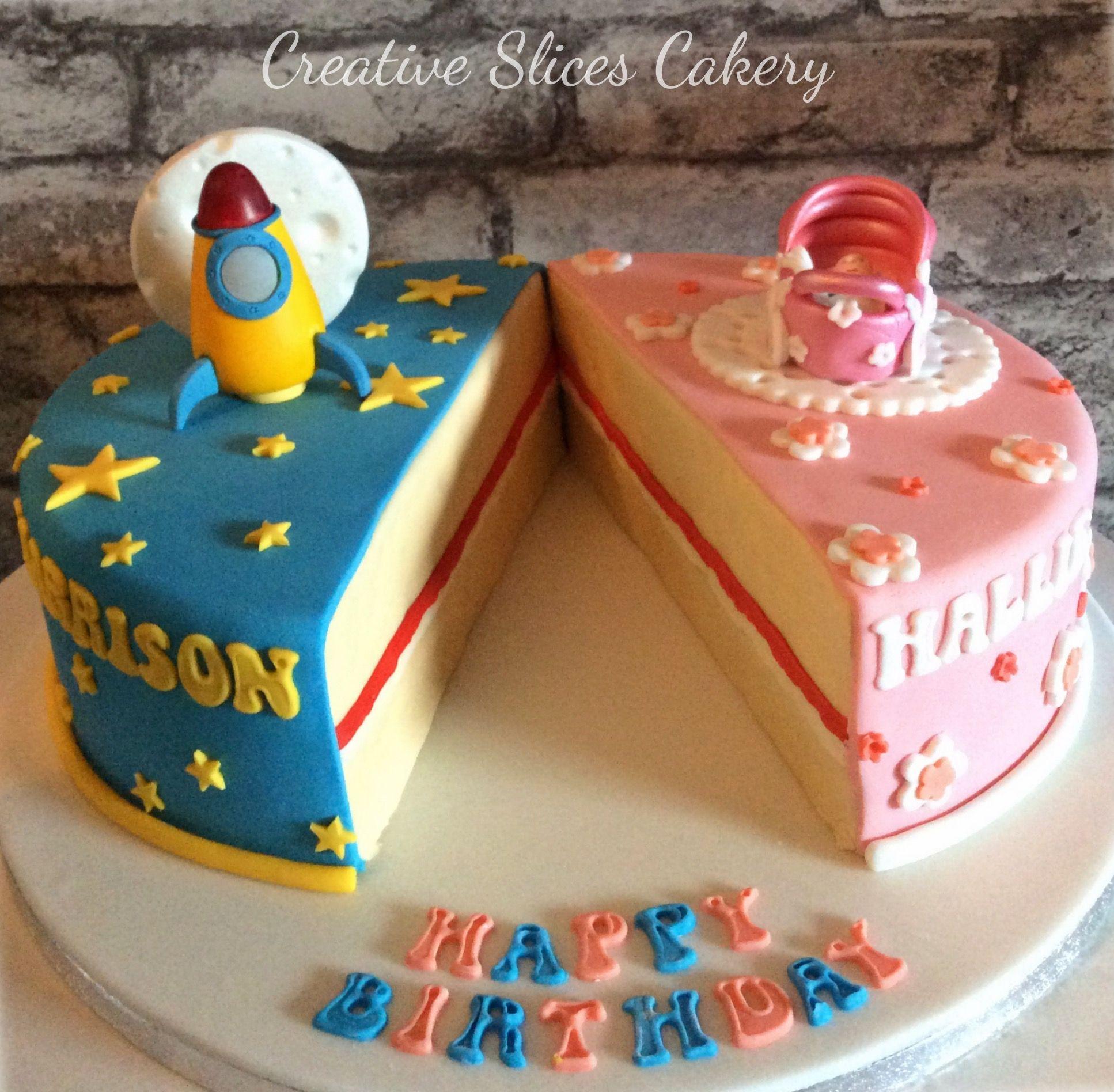Split Half And Half Cake For Boy And Girl X Half Birthday Cakes Twin Birthday Cakes Boy Birthday Cake