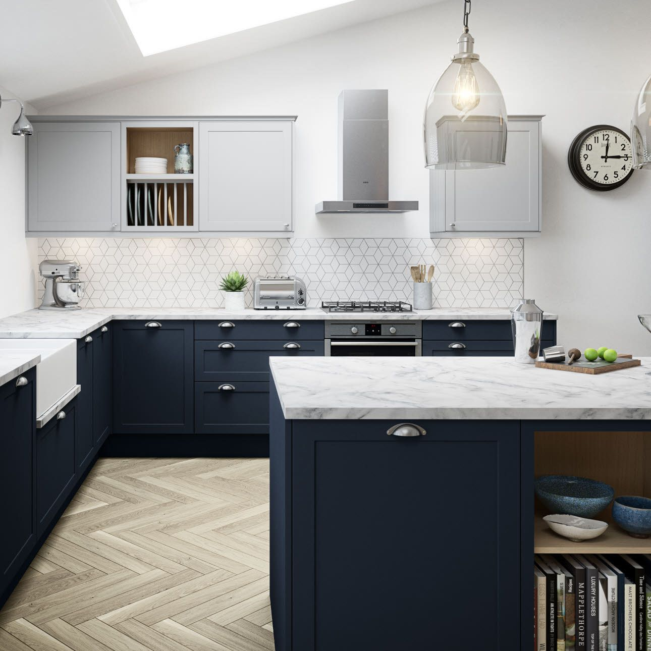 This Is Roughly Our Colour With Roughly Our Top Cabinet Colour And Worktops I Th In 2020 Kitchen Cabinets Color Combination Blue Shaker Kitchen Blue Kitchen Cabinets