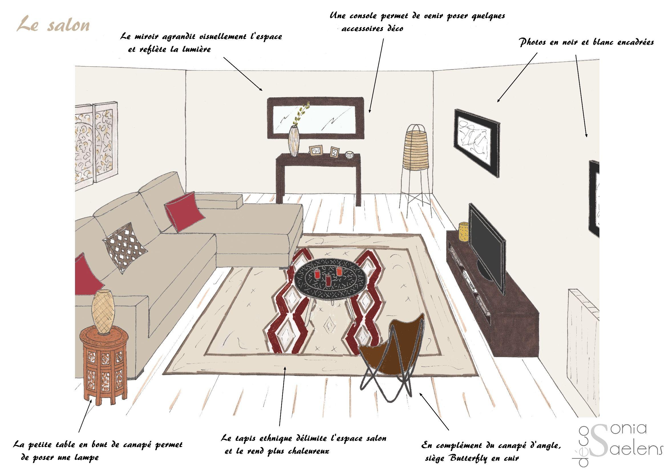 Style ethnique contemporain dans la pièce de vie dun appartement croquis