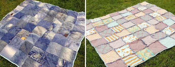 Manta de picnic hecha con jeans ideas pantalon vaquero denim ideas patchwork y denim - Manta de picnic ...