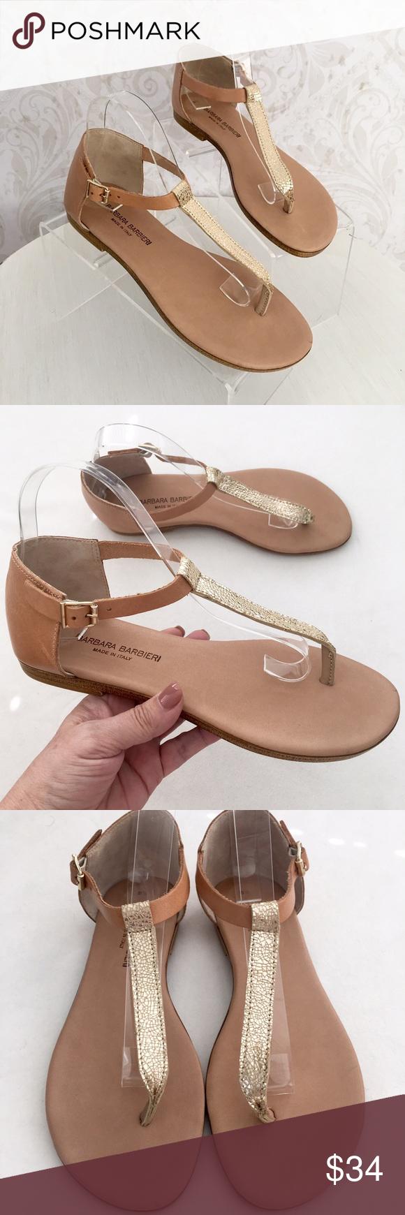 57969ce354449 Barbara Barbieri tan   gold thong sandal I love this brand! Great quality  but still
