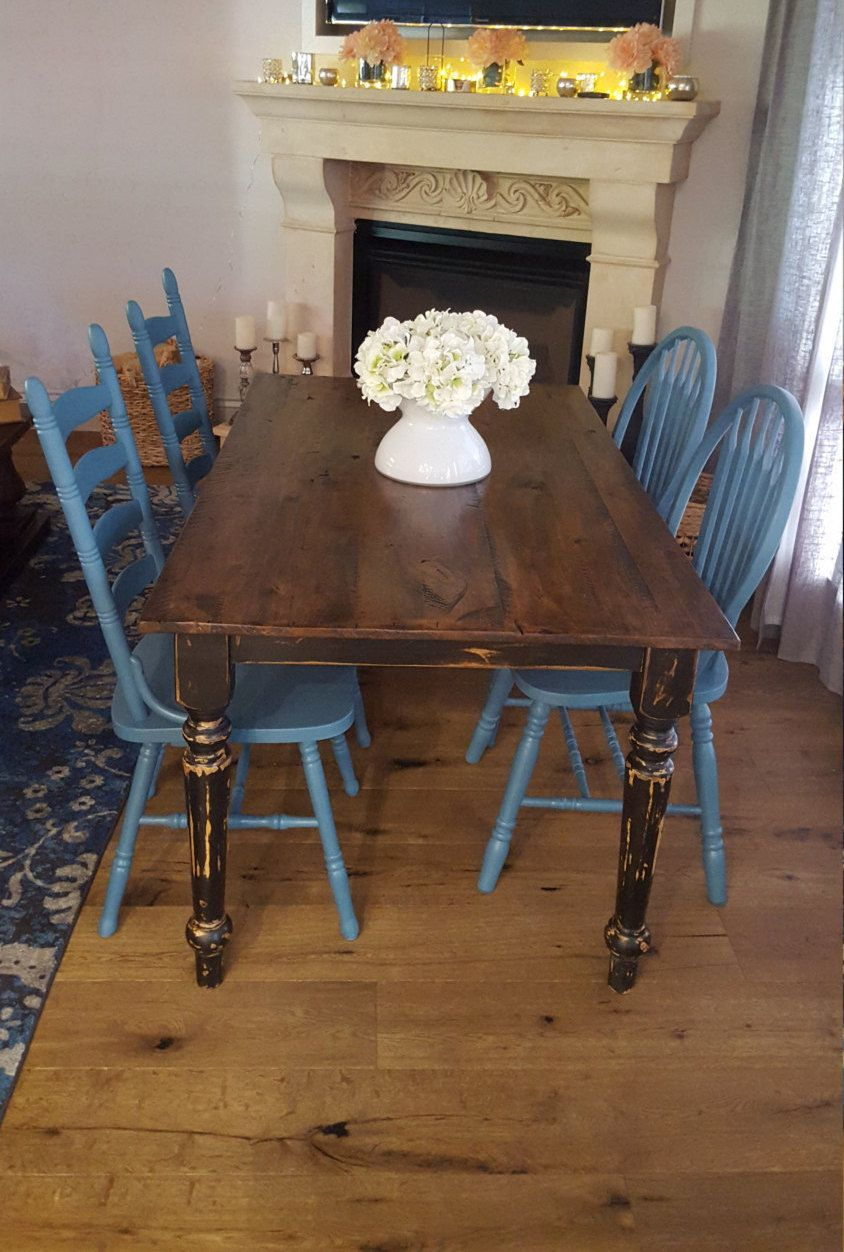 Farmhouse Table And Chairs Set Of Four Vintage Farm In Provencial Blue By Chairobsessed On Etsy