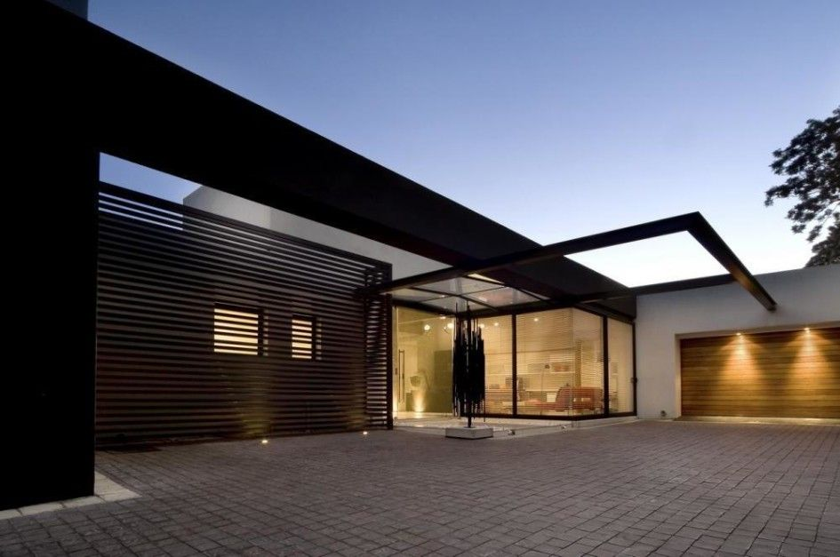 Exterior Design Architecture Home Design Exterior Front Yard Pavement Garage Door Glass Door