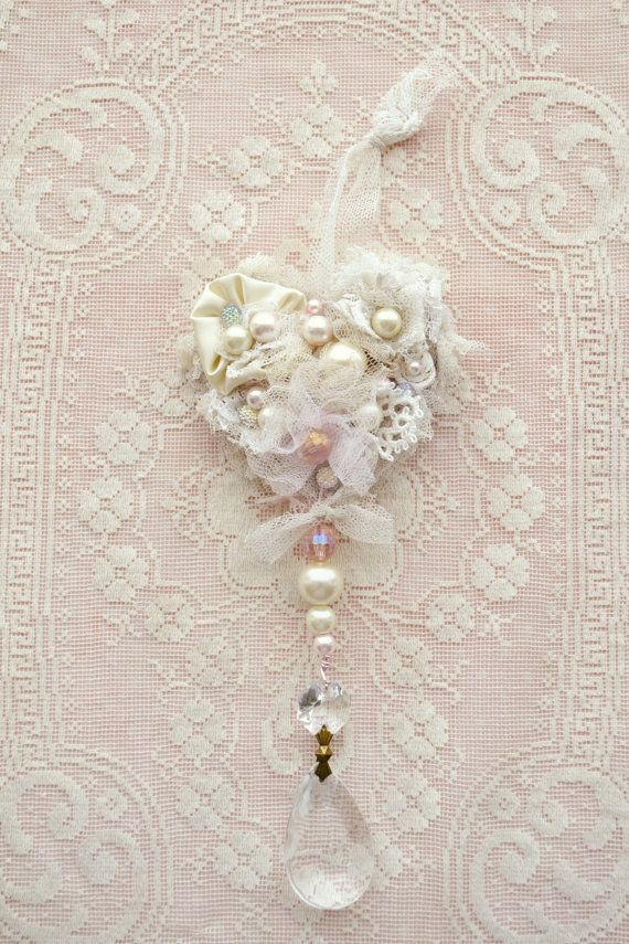 Beautiful Handmade Ribbon Work Heart Ornament with Crystal by Jennelise Rose