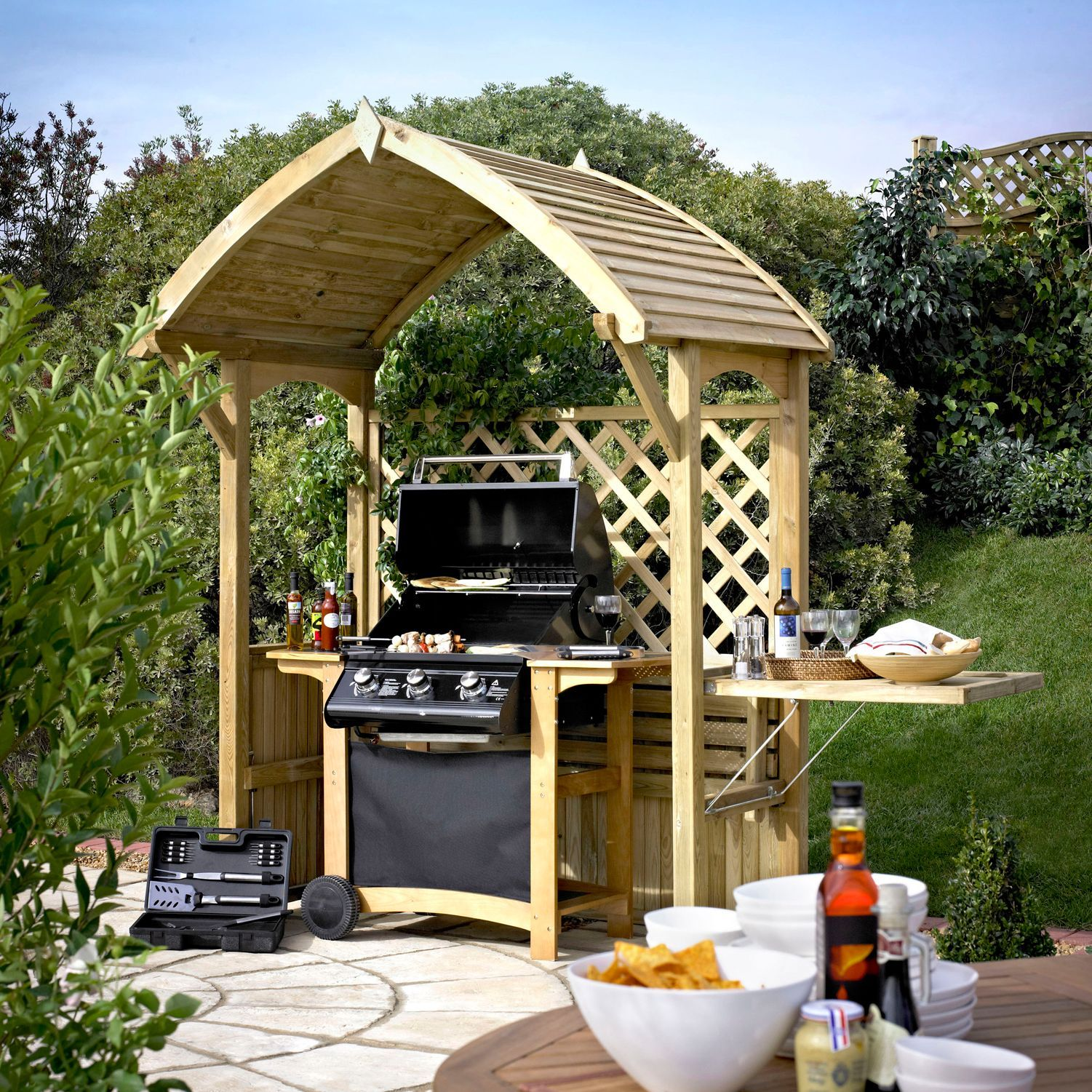 Blooma Barmouth Timber Bbq Arbour H 2 16m W 1770mm D 1 2m
