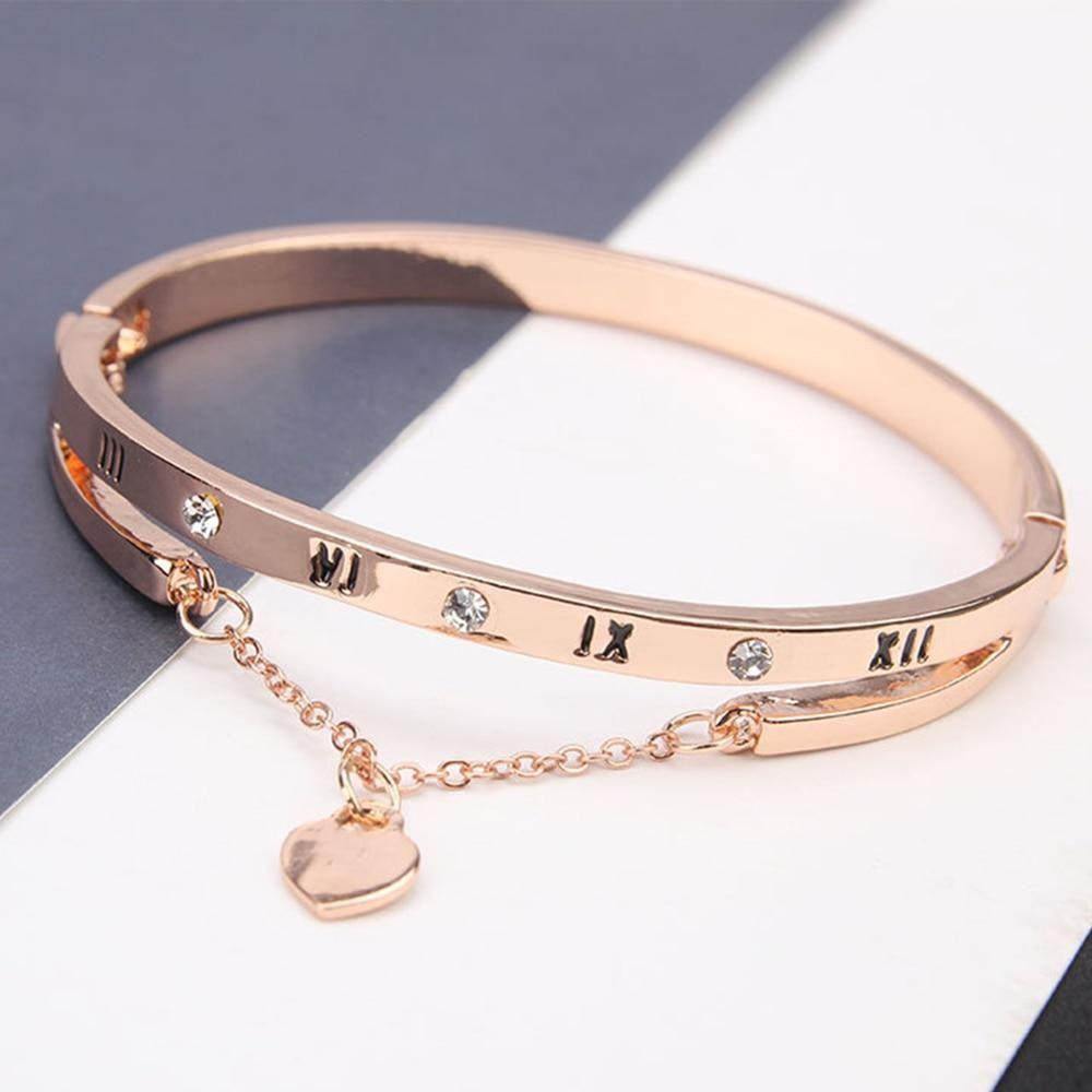 Love 925 Sterling Ocean Blue Crystal Heart Roman Numerals Bangle Bracelet