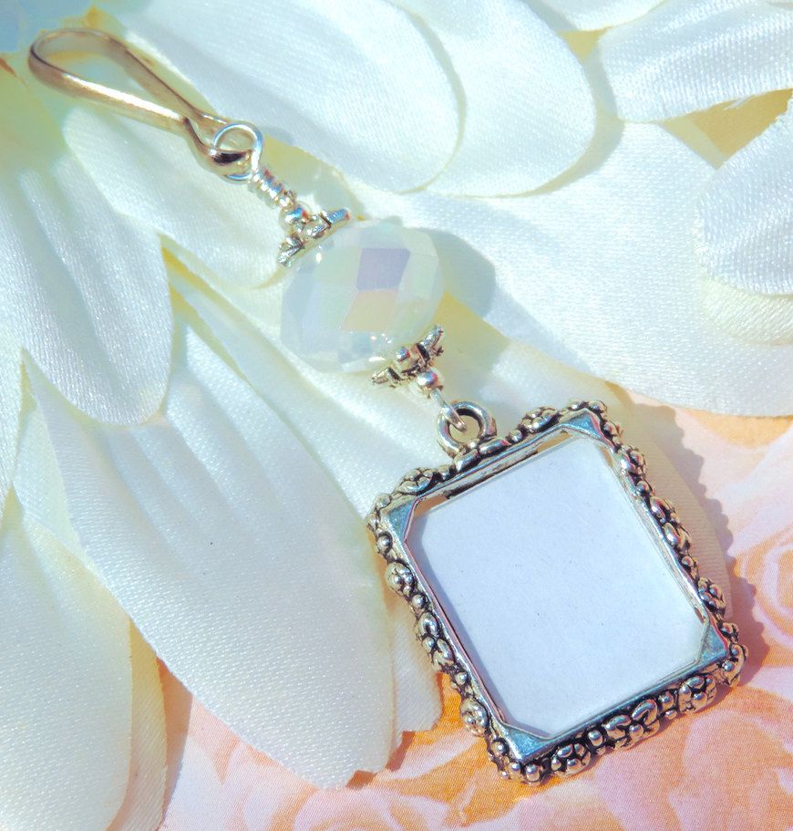 Wedding bouquet photo charm. Milk White crystal memory charm. Bridal ...